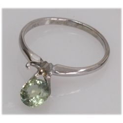 NATURAL 1.17 CTW 14K GREEN SAPPHIRE GOLD RING