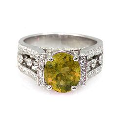 Genuine 3.04 ctw Citrine Ring 14Kt White/Yellow Gold
