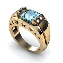 Genuine 3.05 ctw Aqua Marine Ring 14k 4g,  RS 7