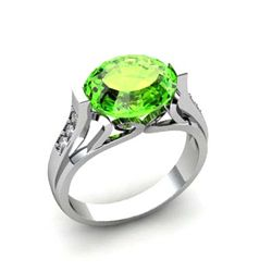 Genuine 4.09 ctw Peridot Ring 14k W/Y Gold