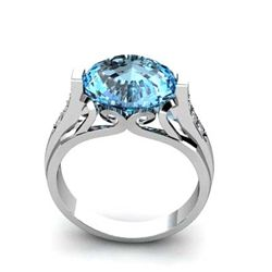 Genuine 6.09 ctw Topaz Ring 14k W/Y Gold