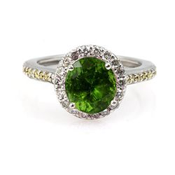 Genuine 2.10 ctw Peridot Ring 14Kt White/Yellow Gold