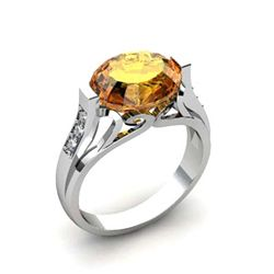 Genuine 4.29 ctw Citrine Ring 14k W/Y Gold