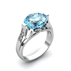 Genuine 4.59 ctw Aqua Marine Ring 18k W/Y Gold