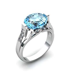 Genuine 4.59 ctw Aqua Marine Ring 14k W/Y Gold