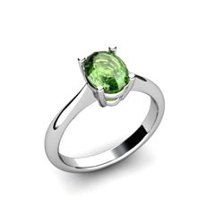 Genuine 0.50 ctw Green Tourmaline Ring 14k W/Y Gold