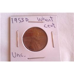 1953D Unc. Wheat Cent