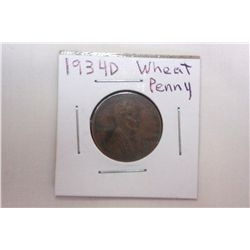 1934D AU Wheat Cent
