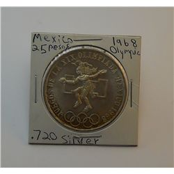 **1968 Mexican Olympic Commemorative 25 pesos .720 Silver XF**