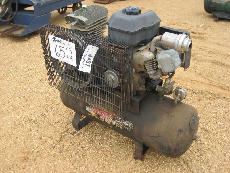 Air compressor gas engine j m wood auction company inc for Air compressor gas motor