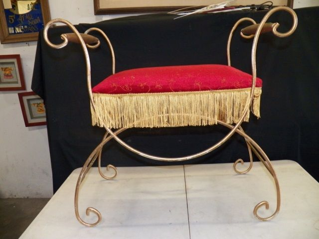 Red Velvet Vanity Chair