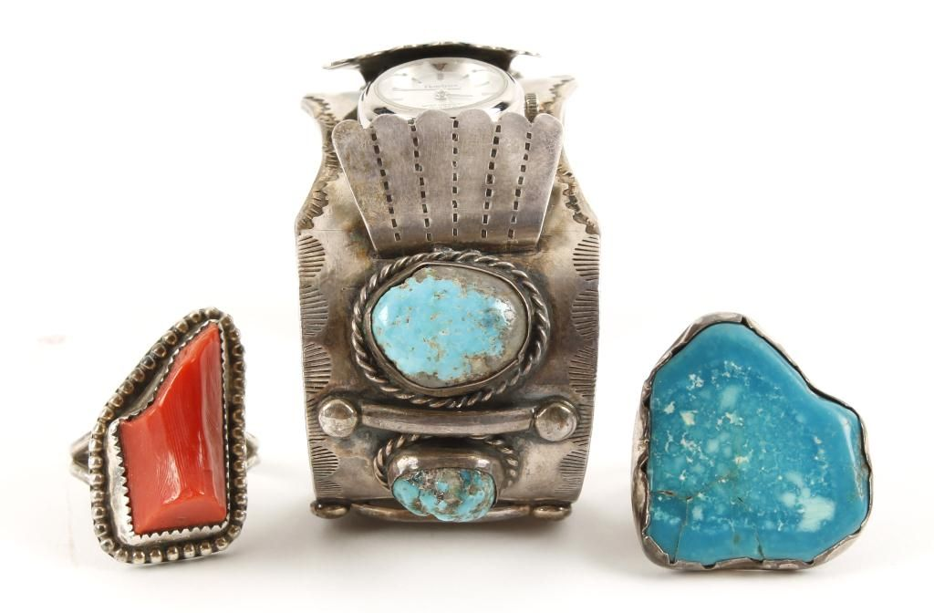 Lot of 3 silver turquoise designer jewelry items for Top 50 jewelry design schools in the world