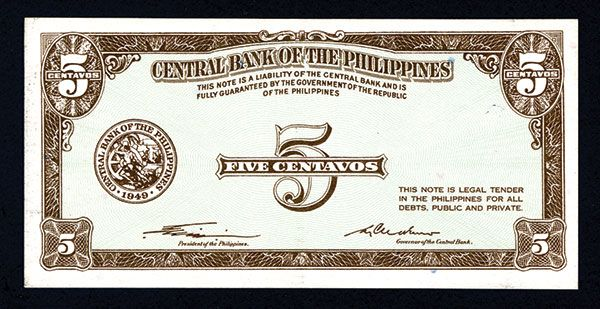 Central Bank Of The Philippines 1949 Essay Banknote