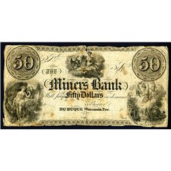 Miners Bank, 1830-40's Issue Obsolete Banknote.
