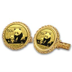 2012 1/10 oz Gold Panda Cuff Links (Polished Rope) 14KT