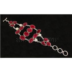 RUBY CORRUNDUM 59.90GRAMS FASHION SILVER BRACELET