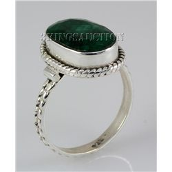 EMERALD BERYL 23.93CTW STERLING SILVER RING