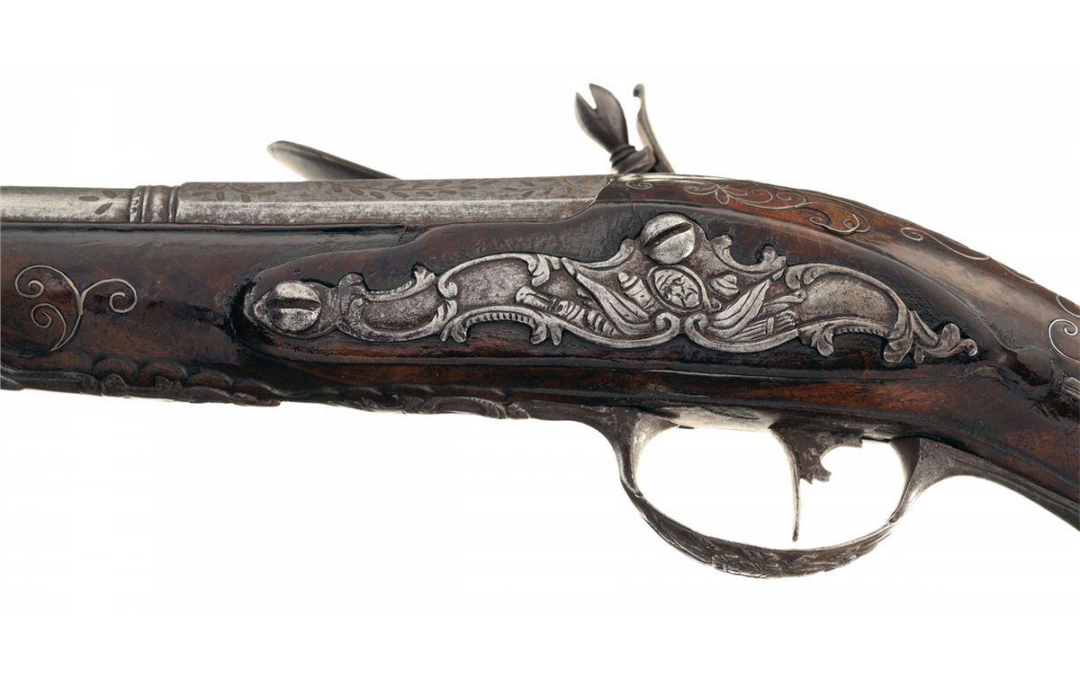 P. Martinoni Marked Flintlock Pistol with Gold Inlaid Barrel and ...