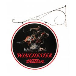 Large Round Hanging Winchester-Western Sign with Hanging Bracket