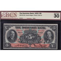 1931 Dominion Bank $5