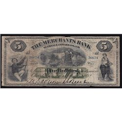 1892 Merchants Bank of Prince Edward Island $5