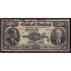 1923 Bank of Montreal $50