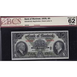 1935 Bank of Montreal $5