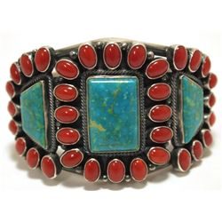 Old Pawn Navajo Coral & Turquoise Sterling Silver Cuff Bracelet - Kirk Smith