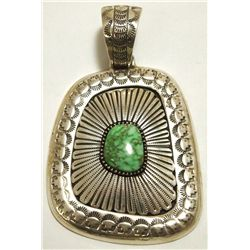 Old Pawn Navajo Carico Lake Turquoise Sterling Silver Pendant - Larry Martinez Chavez