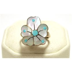 Old Pawn Zuni Mother of Pearl & Turquoise Sterling Silver Women's Ring - Sonny Wallace