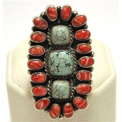 Old Pawn Navajo Coral & Turquoise Sterling Silver Men's Ring - Kirk Smith