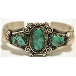 Old Pawn Navajo Royston Turquoise Sterling Silver Cuff Bracelet - Calvin Martinez