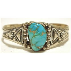 Old Pawn Navajo Pilot Mountain Turquoise Sterling Silver Cuff Bracelet - Lydia Begay
