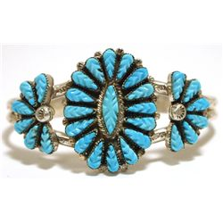 Old Pawn Zuni Sleeping Beauty Turquoise Sterling Silver Cuff Bracelet - Robert Eustace