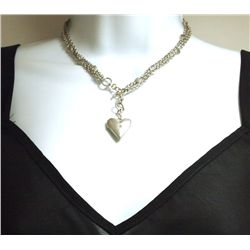 Non-Native Pawn Sterling Silver Hearts Locket Necklace - Henry Dickinson