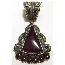 Old Pawn Navajo Purple Spiny Oyster Sterling Silver Pendant - Kirk Smith