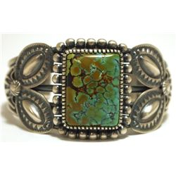 Old Pawn Navajo Spider Web Kingman Turquoise Sterling Silver Cuff Bracelet - Kirk Smith