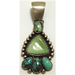 Old Pawn Navajo Multi-Turquoise Sterling Silver Pendant - Bea Tom