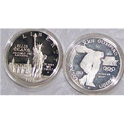 (2X$) U.S SILVER COMMEMORATIVE DOLLARS 1983-1986