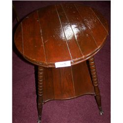 FINE ANTIQUE SIDE TABLE WITH TURNED LEGS & CLAW FEET