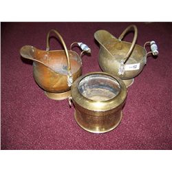 LOT OF (3) ASSORTED BRASS POTS