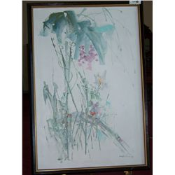 OIL ON CANVAS PAINTING SIGNED YUN SANG 38T X 25.5W FRAMED