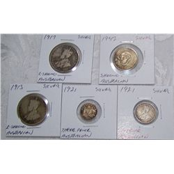 (5X$) AUSTRALIAN SILVER 2 SHILLING-3 PENCE EARLY & RARE DATES