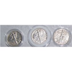 (3X$) SILVER U.S WALKING LIBERTY HALVES 1941-1945