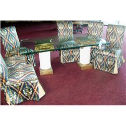 FINE DINING ROOM GLASS TOP TABLE & (6) FINE DINING CHAIRS