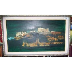 """CLASSICAL RUINS, NIGHT VIEW""  FRAMED 24T X 42W"
