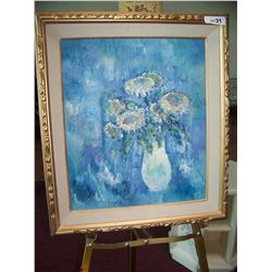 VINTAGE OIL ON CANVAS PAINTING STILL LIFE WITH FLOWERS IN BLUE FRAMED 27T X 23W