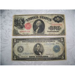 (2X$) RARE LARGE CURRENCY FEDERAL RESERVE NOTES $5 SERIES 1914, U.S NOTE$1 SERIES 1917