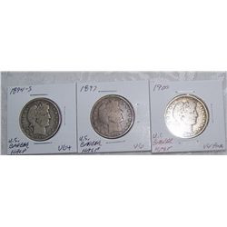 (3X$)U.S SILVER BARBER HALVES, CHOICE CONDITION, 1894-S,1897,1900