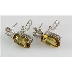 29.81CTW Big Stone Yellow Topaz Silver Earring
